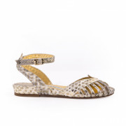 Kitty Margaux Python Gold Sandal