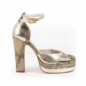 Lily Python Gold Block Heel