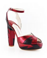 Zia Red Black Luxury Block Heel 2
