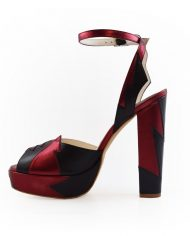 Zia Red Black Luxury Block Heel 4
