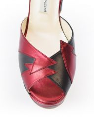 Zia Red Black Luxury Block Heel 5