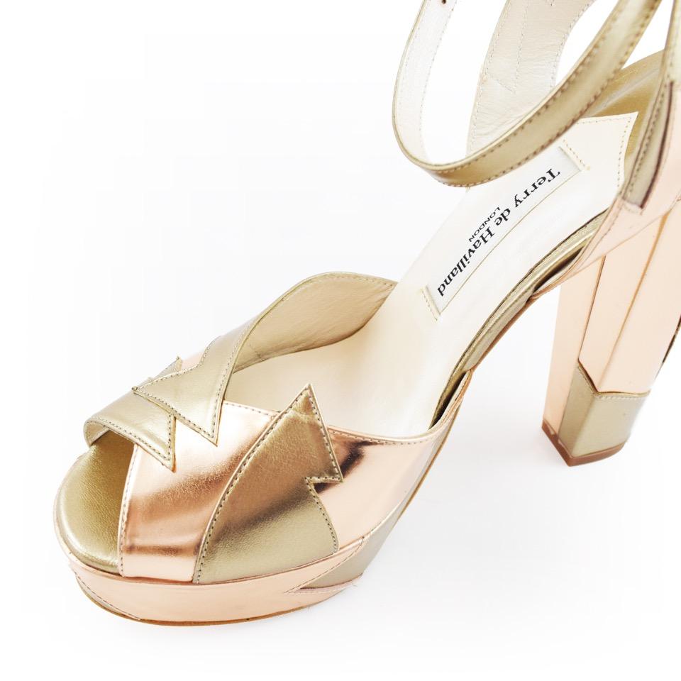 Zia Rose Gold Luxury Block Heel 5