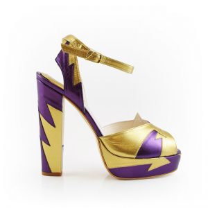 Zia Resort Plum Gold Block Heel 1