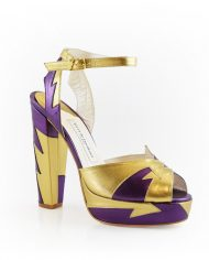 Zia Plum Gold Block Heel Image 5