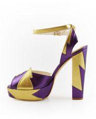 Zia Plum Gold Block Heel Image 2