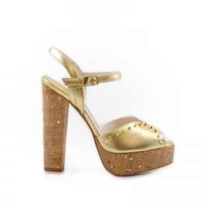 Coco Cork Gold Block Heel