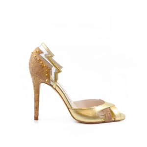 Kate Shard Cork Gold Stiletto Heel