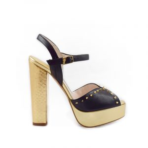 Coco Black Gold Block Heel