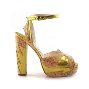 Zia Gold/Cork Block Heel