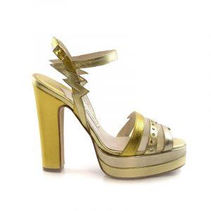 Lightning Coco Gold Crystal Block Heel