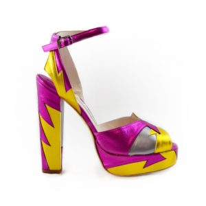 Zia Pink/Yellow Block Heel