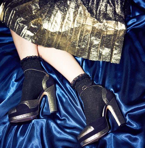 Lily black gold mamba block heel