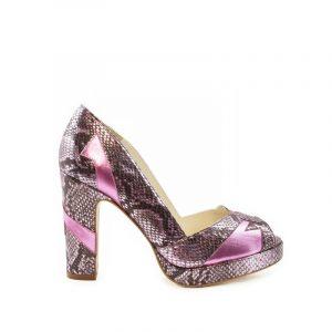 Eva pink metallic block heel