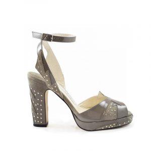 Zia grey stud block heel